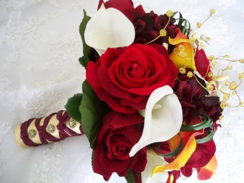 Poročni šopek: jesenski poročni slog