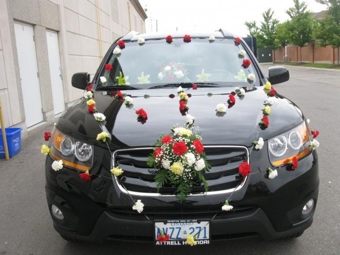 Originalna dekoracija avtomobila za poroko z lastnimi rokami