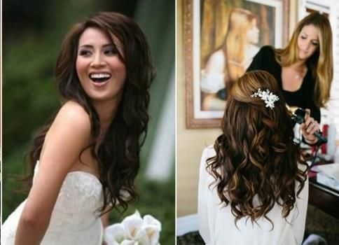 Poroka pričeska za dolge lase razpršene v evropskem slogu Boho