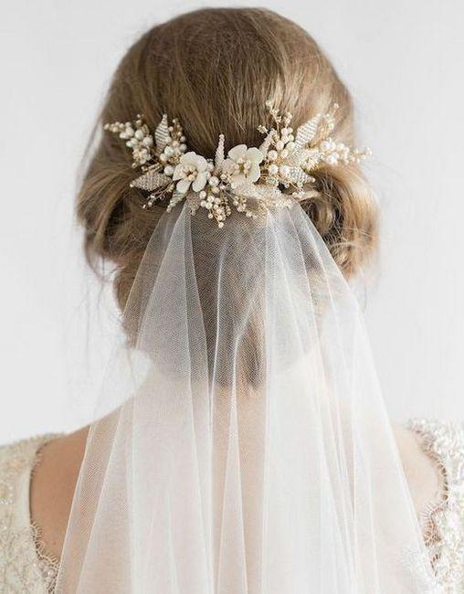 Poroka pričeske s tančico za lase različnih dolžin: fotografija